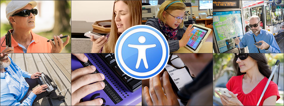 A collage of 8 photographs show 8 different blind or visually-impaired adults and children using Apple Technology to accomplish various tasks. In the center is the MacForTheBlind logo.
