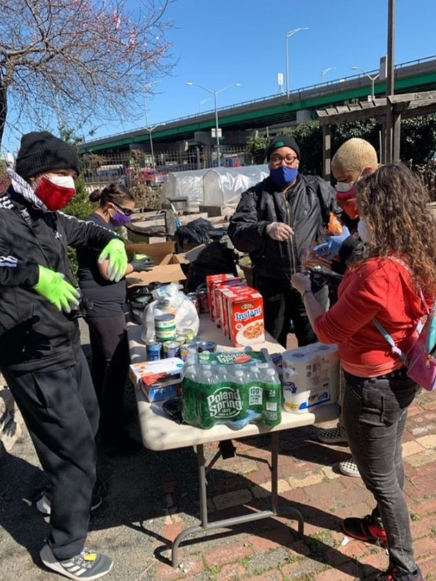 TBBx members and allies distributing food in Hunts Point