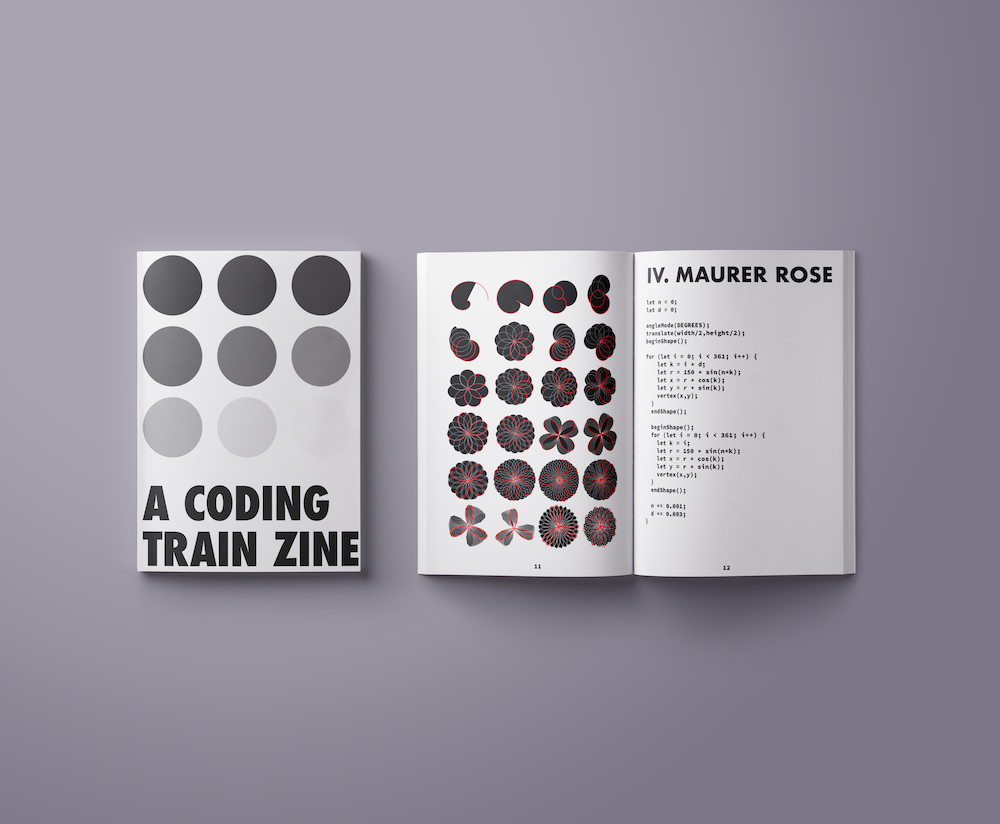 Two copies of A Coding Train zine. On the left, a closed zine shows the cover with circles. On the right, an open zine.