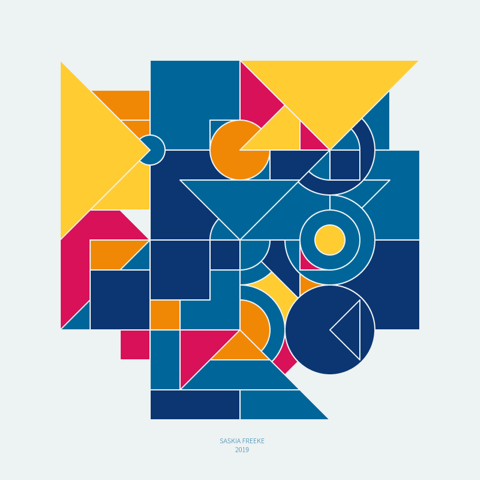 Various geometric shapes form a larger shape in a square composition in two shades of blue, yellow, orange, and red.